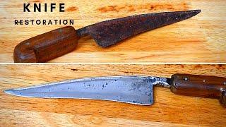 OLD RUSTY KNIFE RESTORATION | Original Handle Restored with Epoxy and Vinegar Soak