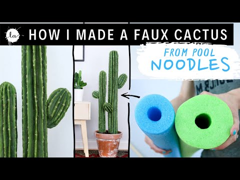 DIY big cactus plant tutorial USING POOL NOODLES