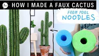 DIY big cactus plant tutorial USING POOL NOODLES