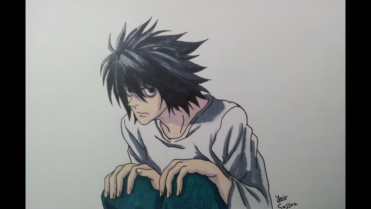 Drawing L From Death Note Youtube
