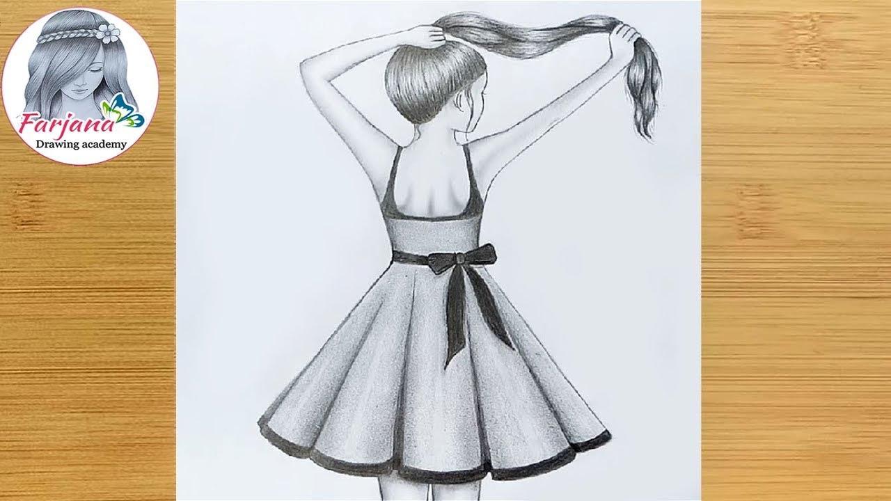 Easy Girl Back Side Drawing