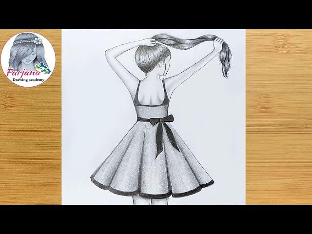 Easy Way To Draw A Girl With Long Hair For Beginners Step By Step Pencil Sketch Youtube