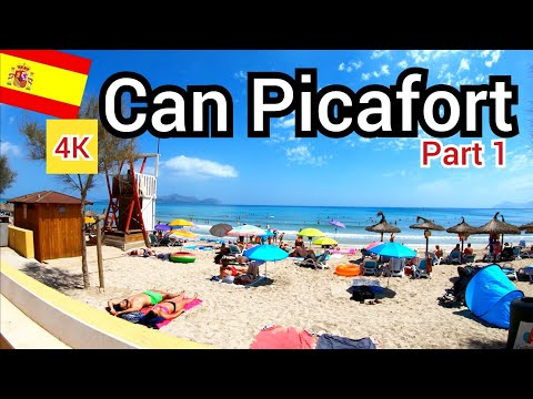 ⁴ᴷ CAN PICAFORT Beach Walking Tour 🇪🇸 Mallorca (Majorca) Spain (part 1) 4K