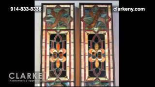 Leaded Glass Panels With Hebrew Writing | Leaded Glass Panels | Furniture | Clarke Auction Gallery