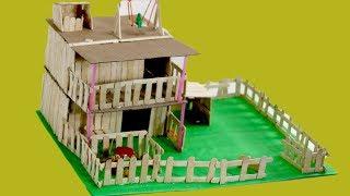 How to Make Modern Popsicle Sticks House || Nusrat DIY Craft