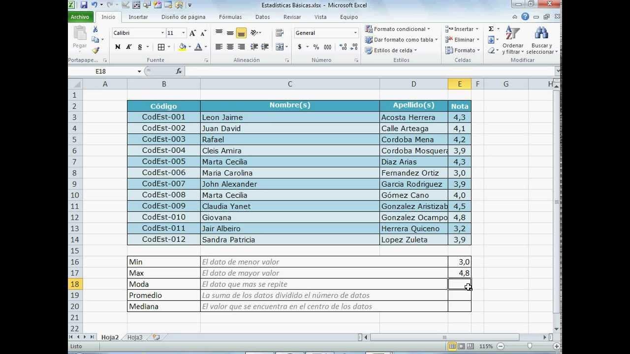 Funciones Estadísticas Básicas En Excel
