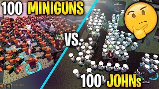 100 MINIGUNS vs 100 JOHNS Tower Defense Simulator (ROBLOX)