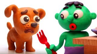 Baby Hulk & the Doggie Funny Play Doh Cartoon Stop Motion for kids