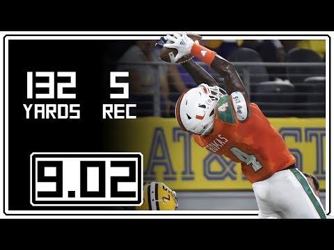 Jeff Thomas Full Highlights Miami vs LSU || 9.02.18 || 5 Rec, 132 Yards