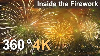 Want to fly inside the firework? 360°, 4К aerial video