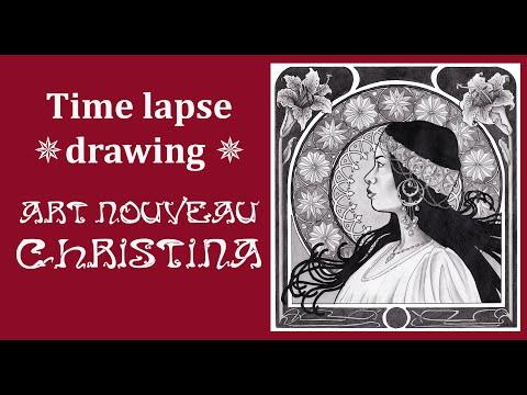 Time-lapse drawing: Art Nouveau Christina