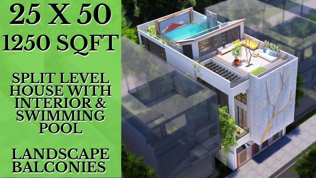 25 X 50 Feet Split Level House with Double Height Landscape Balconies & Swimming Pool at Roof-top