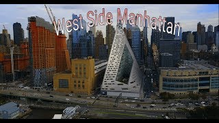 Drone at the West Side of Manhattan / Silverstone luxurious Cruises ship docked 2k