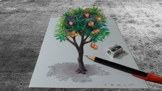 TREE ILLUSION - Drawing 3D Mango Tree - Trick Art on Paper