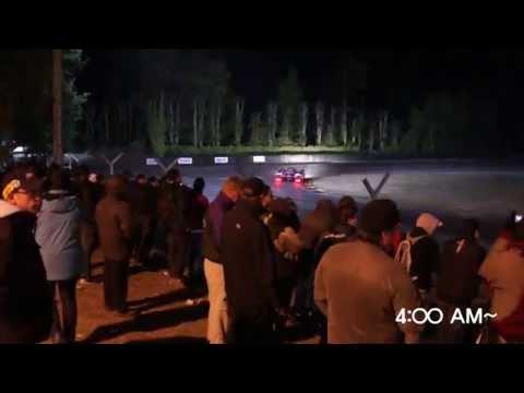 4am at Le Mans 24 endurance race. How the spectators watchhhh.