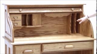 Solid Oak Single Pedestal Roll Top Desk