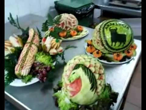 Decoraciones en frutas y verduras nautilus youtube for Como secar frutas para decoracion