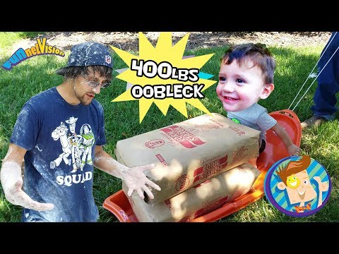 Thumbnail: TRAPPED in OOBLECK! 450lbs Cornstarch BATH CHALLENGE Family Fun! FUNnel Vision Kiddie Swimming Pool