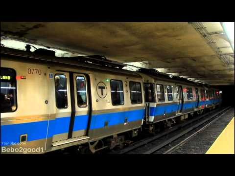 MBTA Subway: Two Blue Line Trains at State Street [700 Series]