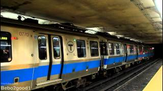 MBTA Subway: Two Blue Line Trains at State Street [700 Series]