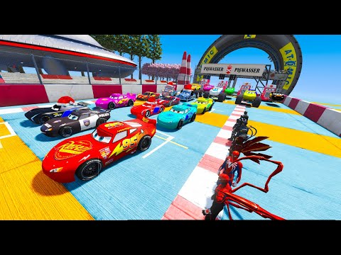 Spiderman Cars 3 MCqueen and Friends Full Colors Disney Cars Games GTA 5 |
