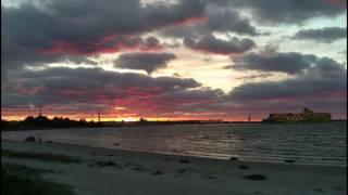 Sunset on Pirita Beach, Tallin. 4K