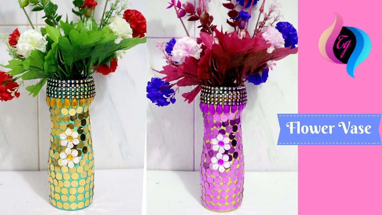 How to make flower vase with waste material make a for Plastic bottle vase craft