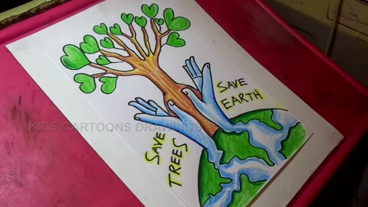 Save Tree And Save Water Drawing