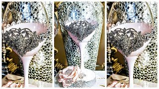Dollar Tree Luxurious DIY Bling Heart Wine Glass Centerpiece