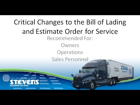 Critical Changes to the Bill of Lading and Estimate Order for Service Regarding Valuation HD