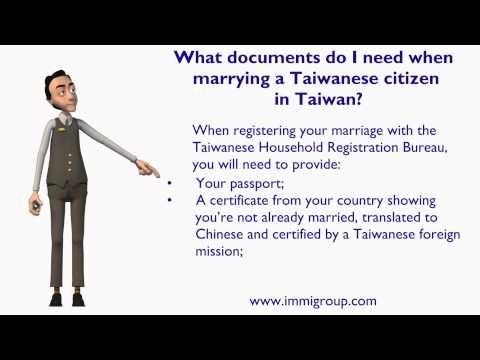 What documents do I need when marrying a Taiwanese citizen in Taiwan?