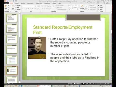 Data Warehouse Webinar on Employment First Reports