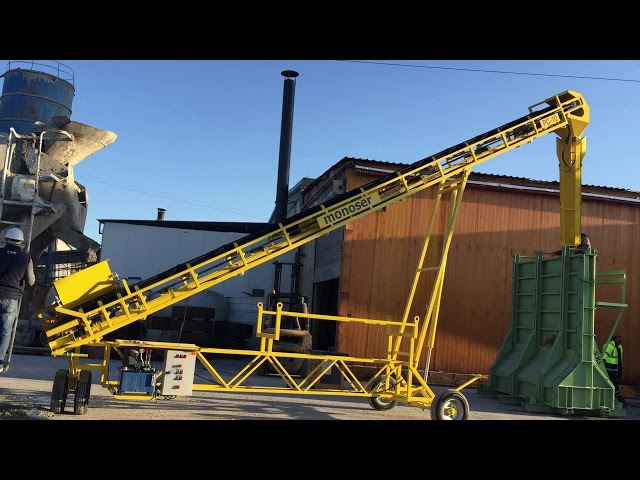PC10 towed concrete belt conveyor system