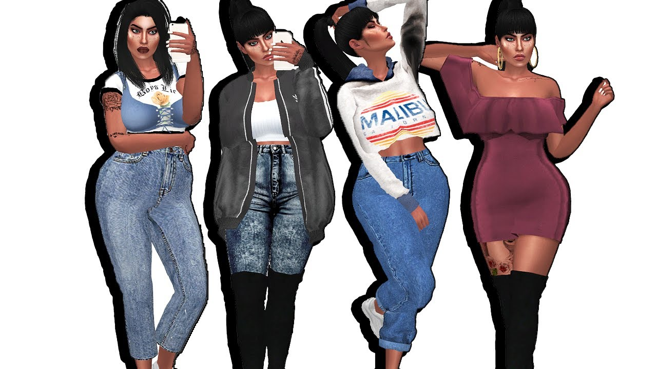 THE SIMS 4 | PLUS SIZE BADDIE LOOKBOOK | DOWNLOAD SIM + 30 LINKS - YouTube