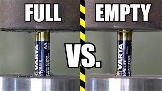 How Strong Are Batteries? Empty Vs. Full | Hydraulic Press Test!