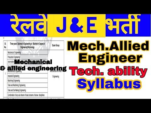 Railway jE mechanical,production,magnufacture engineer syllabus,