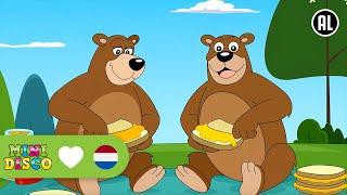 Tekenfilm en tekst van het kinderliedje: Ik zag twee beren, broodje...
