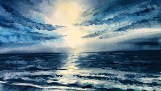 Watercolor Ocean Waves Simple Painting Demonstration