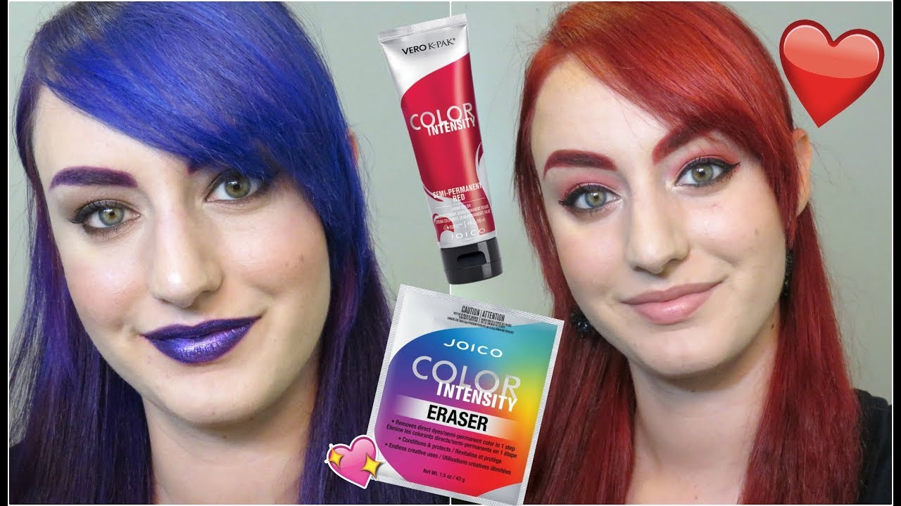 Purple To Red Hair At Home Joico Color Eraser Justenufeyes Youtube