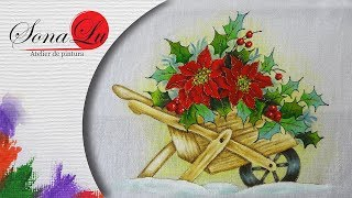 Carrinho com Flores Natalinas em Tecido por Sonalupinturas