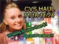 CVS HAUL 11/18/18-11/24/18 ~ $65 in products for under $1!!