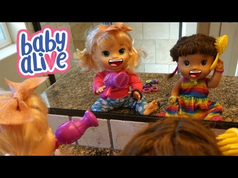 BABY ALIVE Cool Hair Styles With Janice & Sara Baby Alive Dolls! DIY