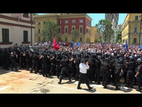 Opposition supporters protest in Tirana