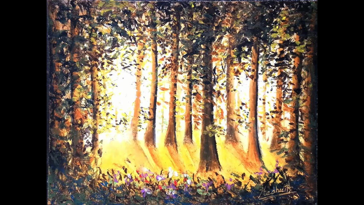 Forest Oil Pastel Tutorial How To Paint A Landscape