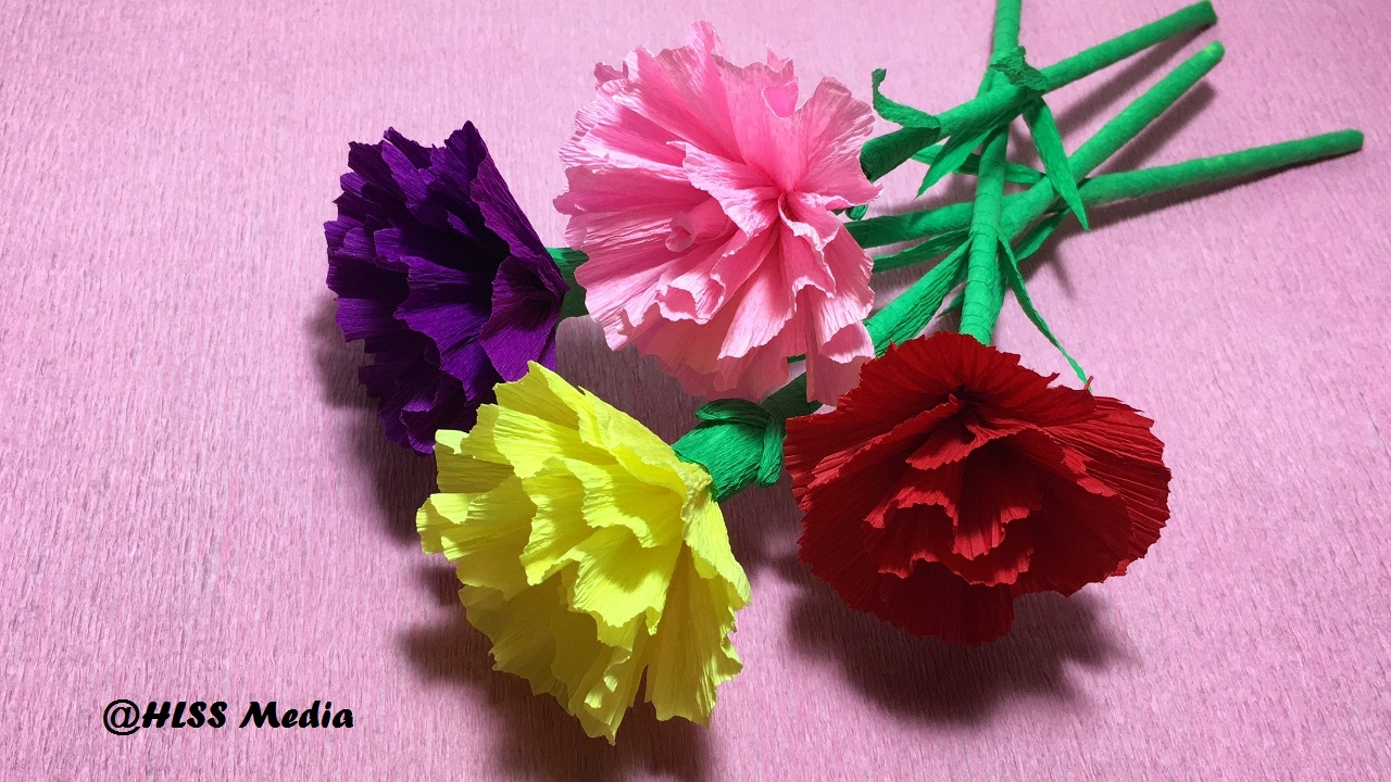 How To Make Diy Carnation Flower With Crepe Paper Easy Fast Carnation Flower Paper Craft Tutorial