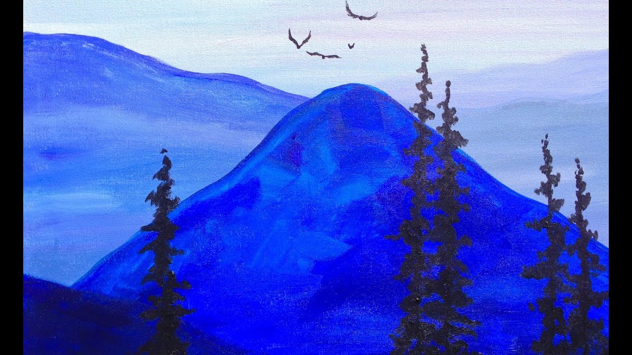 Blue Paint paint it blue easy mountains acrylic tutorial asl - youtube