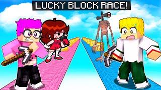 LANKYBOX Has A LUCKY BLOCK RACE In MINECRAFT! (ft. SIREN HEAD, MARIO, CARTOON CAT, AND MORE!)