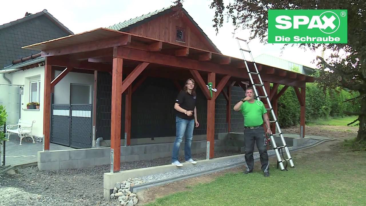 carport bauen mit spax youtube. Black Bedroom Furniture Sets. Home Design Ideas