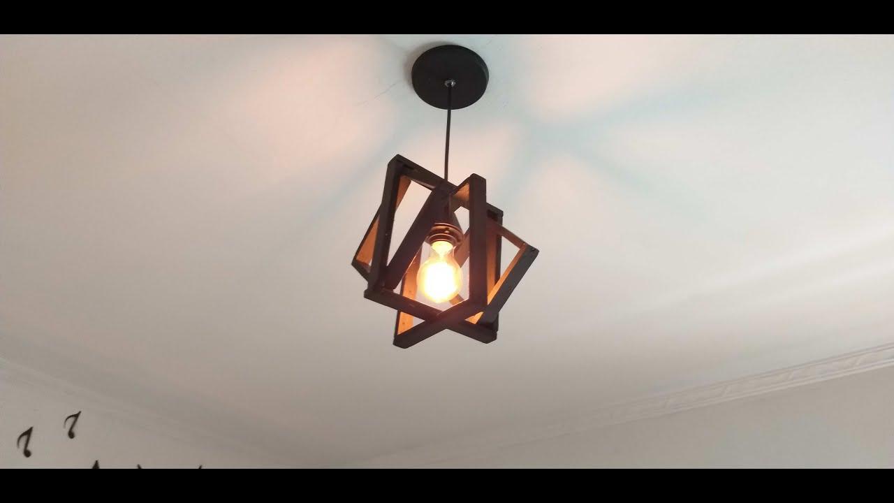 Luminária pendente feita com restos de madeira|reaproveitamento com cara de loja|sandra batista