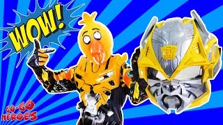 - BUMBLEBEE in CHICAs mask Dance party FNaF Superheroes in real life Transformers Video for kids